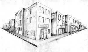 Perspective Drawings Of Buildings simple 2 point perspective houses simple line drawings houses